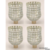 """Picture of Peg Votive Candle Holder Mirror Mosaic Silver  Set of 4    3""""Dx4.25""""H    Item No.23264"""