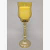 """Picture of Amber Glass Peg Votive Holder with Crosshatch and  Star Etching  Set of 2   3.75""""Dx5""""H  #20133"""