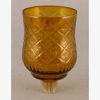 """Picture of Glass Peg Votive Holder Amber Crosshatch and Star Etching Set of 4 