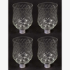 """Picture of Glass Peg Votive Candle Holder with Crosshatch Etching Set of 4 