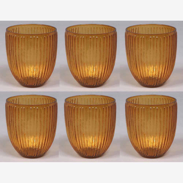 """Picture of Votive Candle Holder Amber Glass with Lines Set of 6  