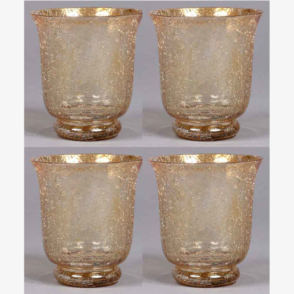 """Picture of Votive Candle Holder Crackle Glass Gold Set of 4  