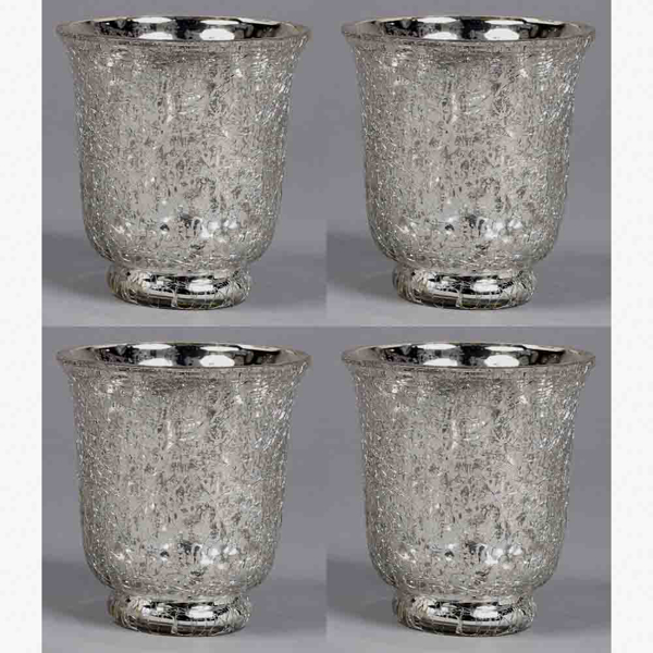 """Picture of Votive Candle Holder Silver Crackle Glass Set of 4   3""""Dx3.5""""H    Item No. 16171"""