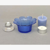 """Picture of Votive Candle Holder Blue Glass Daisy Set of 6   4""""Dx1.75""""H   Item No. 28403"""
