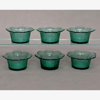 """Picture of Votive Candle Holder Green Glass Daisy Set of 6  