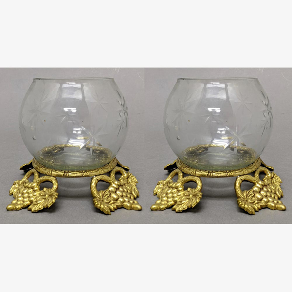 """Picture of Brass Four Leaf Stand with Clear Glass Sphere Votive Holder  Set of 2  