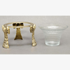 """Picture of Brass Bow 3 -Leg Stand with Clear Tempered  Glass Votive Holder  Set of 2  