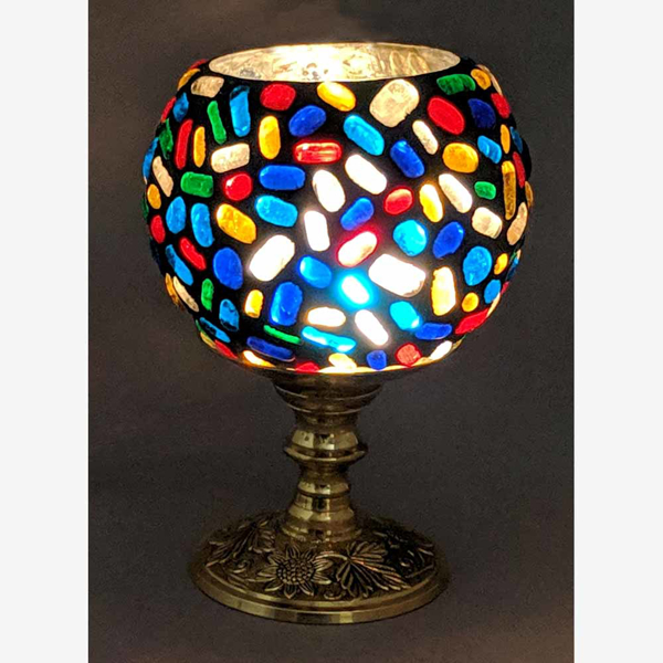 """Picture of Votive Candle Holder Brass Stand w/ Multi Color Mosaic Sphere 