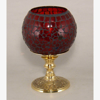 """Picture of Votive Candle Holder Red Mosaic Ball on Brass Base  