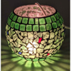 """Picture of Votive Candle Holder Brass Stand w/ Green Mosaic Sphere 