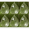 """Picture of Hanging Votive Holder Clear Glass Oval  Set of 6   3.75""""Dx5""""H    Item No.20017"""