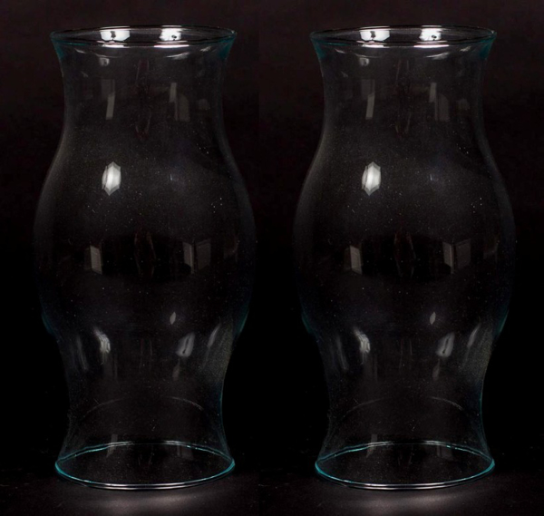 """Picture of Clear Glass Hurricane Shade Classic Antique Shape Made in USA Set/2 