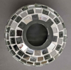 """Picture of Silver Mosaic Glass Hurricane Shade For Candle Holders or Candelabras Set/2    5.5""""Dx9""""H     Item No. 20166"""
