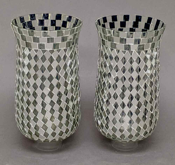 """Picture of Silver Mosaic Glass Hurricane Shade For Candle Holders or Candelabras Set/2    4""""Dx8""""H     Item No. 20176"""