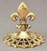 """Picture of Brass Card Holder Fleur-de-lis on Round Filigree Base Set/4    3.5""""Dx3.25""""H    Item No. 99616"""
