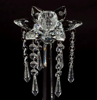 """Picture of Crystal Candle Holder with 6 Bead Hangers Set/2    4""""Diax12""""High    Item No. 20282"""