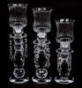 """Picture of Crystal Candle Holder Faceted with 4- Hanging Crystal Beads Set/2  