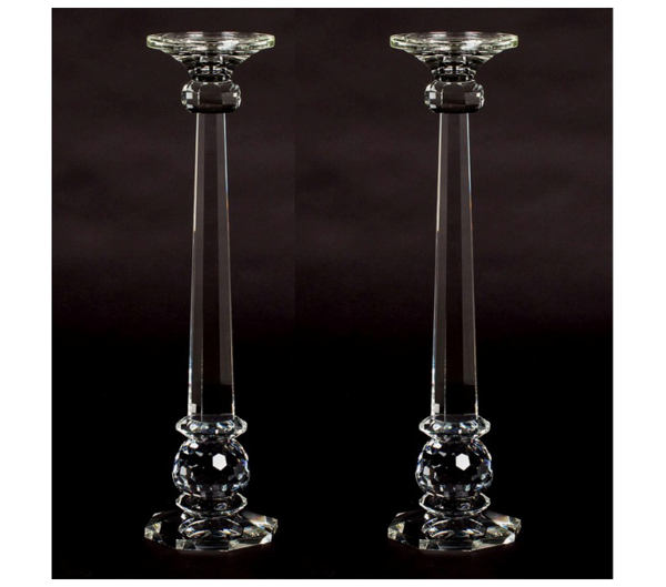 """Picture of Crystal Candle Holder Contemporary Octagonal Base Set/2    5.5""""Diax21""""High    Item No. 20302"""