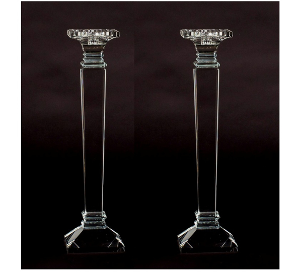 """Picture of Crystal Candle Holder Square Contemporary Set/2    4.5""""Diax18""""High    Item No. 20273"""
