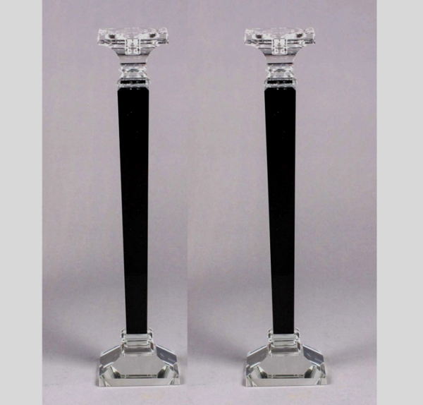 """Picture of Crystal Candle Holders Contemporary Square with Black Stem Set/2  