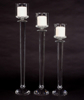 """Picture of Crystal Candle Holder with Clear Glass Shade Multifaceted Stem Set/2  
