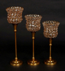 """Picture of Antique Gold Crystal Bead Votive Candle Holders Set/2    4""""D x 11""""H    Item No. 16153"""
