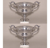 """Picture of Silver Color Bowl with Ornate Handles & Square Base  Set/2 